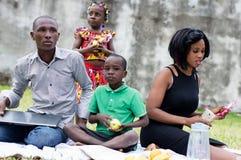 Ευτυχές οικογενειακό πικ-νίκ στο πάρκο στοκ φωτογραφία με δικαίωμα ελεύθερης χρήσης