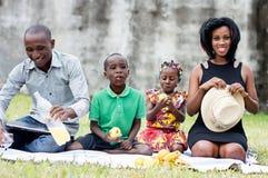 Ευτυχές οικογενειακό πικ-νίκ στο πάρκο στοκ φωτογραφίες