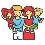 Ευτυχές οικογενειακό πορτρέτο που στέκεται μαζί, γονείς που κρατούν τα παιδιά στην έννοια όπλων τους διανυσματική απεικόνιση