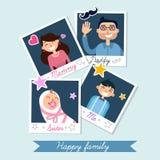 Ευτυχές οικογενειακό σύνολο πλαισίων φωτογραφιών Polaroid ελεύθερη απεικόνιση δικαιώματος
