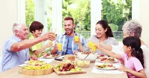 Ευτυχές οικογενειακό ψήσιμο κατά τη διάρκεια του μεσημεριανού γεύματος απόθεμα βίντεο