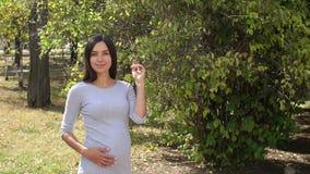 Ευτυχές ονειρεμένος έγκυο κορίτσι που περπατά στο πάρκο το καλοκαίρι απόθεμα βίντεο