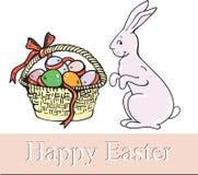 Ευτυχές Πάσχα, λαγοί, ένα καλάθι των αυγών Στοκ Εικόνες