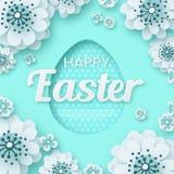 Ευτυχές Πάσχα, δημιουργικό λουλούδι περικοπών εγγράφου eps 10 διανυσματική απεικόνιση