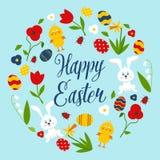 Ευτυχές Πάσχα και ποδήλατο με το στεφάνι, κουνέλι, κοτόπουλο, αυγά, παπ διανυσματική απεικόνιση