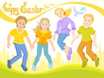 Ευτυχές Πάσχα, παιδιά είναι φίλοι, ηλιόλουστη κάρτα διανυσματική απεικόνιση