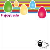 Ευτυχές Πάσχα, πρότυπο της ευχετήριας κάρτας με τα πρόβατα αυγών Στοκ Εικόνα