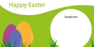 Ευτυχές Πάσχα, πρότυπο της ευχετήριας κάρτας με τα αυγά Στοκ Εικόνες