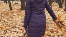 Ευτυχές παιχνίδι μικρών κοριτσιών με τη μητέρα της στο πάρκο φθινοπώρου φιλμ μικρού μήκους