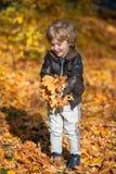 Ευτυχές παιχνίδι αγοριών με τα φύλλα φθινοπώρου Στοκ Εικόνες