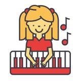 Ευτυχές παιχνίδι μικρών κοριτσιών στο πιάνο, έννοια pianist απεικόνιση αποθεμάτων