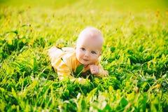 Ευτυχές παιδί μωρών που βρίσκεται στη χλόη στη θερινή ημέρα Στοκ Εικόνες