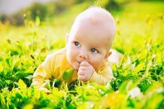 Ευτυχές παιδί μωρών που βρίσκεται στη χλόη στη θερινή ημέρα Στοκ Φωτογραφίες