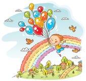 Ευτυχές παιδί που πετά με τα μπαλόνια απεικόνιση αποθεμάτων