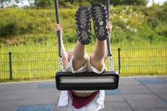 Ευτυχές παιδί στην παιδική χαρά Στοκ Εικόνα