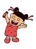 Ευτυχές πακέτο ANG Pow εκμετάλλευσης μικρών κοριτσιών ή κόκκινος φάκελος στο πηγούνι Στοκ Εικόνα