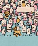 Ευτυχές πλήθος ανθρώπων κινούμενων σχεδίων και νέος - γεννημένο μωρό απεικόνιση αποθεμάτων