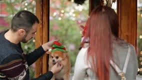 ευτυχές πορτρέτο ζευγών &a Έχουν πολλή διασκέδαση φορώντας τα καπέλα Santa στα σκυλιά Cutie απομονωμένη Χριστούγεννα διάθεση τρία φιλμ μικρού μήκους