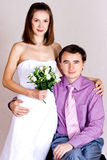 ευτυχές πορτρέτο newlyweds Στοκ Φωτογραφίες
