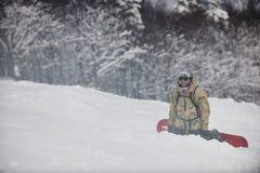 Ευτυχές πορτρέτο snowboarder Στοκ Εικόνες