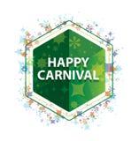 Ευτυχές πράσινο hexagon κουμπί σχεδίων εγκαταστάσεων καρναβαλιού floral ελεύθερη απεικόνιση δικαιώματος