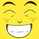 Ευτυχές πρόσωπο χαμόγελου που απομονώνεται στο κίτρινο χρώμα Στοκ εικόνα με δικαίωμα ελεύθερης χρήσης