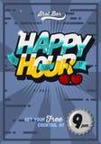 Ευτυχές πρότυπο αφισών έννοιας ώρας για τη διαφήμιση κωμικός Στοκ Εικόνες