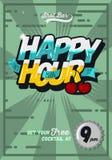 Ευτυχές πρότυπο αφισών έννοιας ώρας για τη διαφήμιση κωμικός Στοκ εικόνα με δικαίωμα ελεύθερης χρήσης