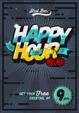 Ευτυχές πρότυπο αφισών έννοιας ώρας για τη διαφήμιση κωμικός Στοκ Φωτογραφίες