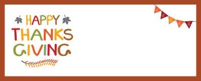 Ευτυχές πρότυπο εμβλημάτων ημέρας των ευχαριστιών με τη διακόσμηση Στοκ εικόνα με δικαίωμα ελεύθερης χρήσης