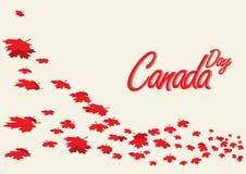 Ευτυχές πρότυπο ιπτάμενων ημέρας του Καναδά Η σημαία του Καναδά με τα πυροτεχνήματα για γιορτάζει τη εθνική μέρα του Καναδά Στοκ Φωτογραφία