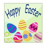 Ευτυχές πρότυπο Πάσχας με το άσπρα πλαίσιο και τα αυγά Στοκ φωτογραφίες με δικαίωμα ελεύθερης χρήσης