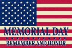 Ευτυχές πρότυπο υποβάθρου ημέρας μνήμης Ευτυχής αφίσα ημέρας μνήμης Θυμηθείτε και τιμή πάνω από τη αμερικανική σημαία έμβλημα πατ Στοκ Εικόνα
