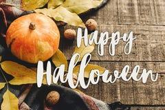 Ευτυχές σημάδι κειμένων αποκριών στην κολοκύθα φθινοπώρου με τα φύλλα και waln Στοκ εικόνα με δικαίωμα ελεύθερης χρήσης