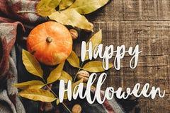 Ευτυχές σημάδι κειμένων αποκριών στην κολοκύθα φθινοπώρου με τα φύλλα και waln Στοκ Εικόνα