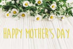 Ευτυχές σημάδι κειμένων ημέρας μητέρων ` s χαιρετισμός καλή χρονιά καρτών του 2007 ευγενές λουλούδι μαργαριτών στοκ εικόνες