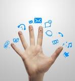 ευτυχές σημάδι ομάδας δάχτυλων συνομιλίας κοινωνικό Στοκ Εικόνες