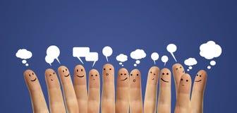 ευτυχές σημάδι ομάδας δάχτυλων συνομιλίας κοινωνικό Στοκ φωτογραφίες με δικαίωμα ελεύθερης χρήσης