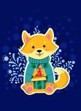 Ευτυχές σκυλί που φορά το μπλε πουλόβερ Στοκ Εικόνες