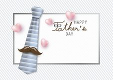 Ευτυχές σχέδιο έννοιας ημέρας πατέρων της γραβάτας και mustache Στοκ εικόνα με δικαίωμα ελεύθερης χρήσης
