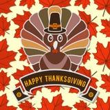 Ευτυχές σχέδιο εορτασμού ημέρας των ευχαριστιών με τα φύλλα της Τουρκίας και φθινοπώρου απεικόνιση αποθεμάτων