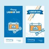 Ευτυχές σχέδιο ημέρας εργασίας με το εκλεκτής ποιότητας θέμα μπλε και πορτοκαλί με Στοκ Εικόνες