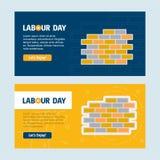 Ευτυχές σχέδιο ημέρας εργασίας με το κίτρινο και μπλε διάνυσμα θέματος με το λ Στοκ Εικόνες