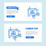 Ευτυχές σχέδιο ημέρας εργασίας με το μπλε διάνυσμα θέματος Στοκ Φωτογραφίες