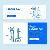 Ευτυχές σχέδιο ημέρας εργασίας με το μπλε διάνυσμα θέματος Στοκ Εικόνες