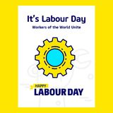 Ευτυχές σχέδιο ημέρας εργασίας με το μπλε και κίτρινο διάνυσμα θέματος με το γ Στοκ Φωτογραφία