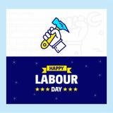 Ευτυχές σχέδιο ημέρας εργασίας με το μπλε και κίτρινο διάνυσμα θέματος με το χ Στοκ φωτογραφία με δικαίωμα ελεύθερης χρήσης