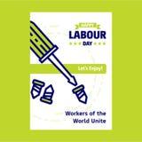 Ευτυχές σχέδιο ημέρας εργασίας με το πράσινο και μπλε διάνυσμα θέματος με το εκτάριο Στοκ εικόνες με δικαίωμα ελεύθερης χρήσης