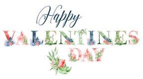 Ευτυχές σχέδιο λέξης watercolor ημέρας βαλεντίνων με τις floral ανθοδέσμες και την κορώνα Συρμένη χέρι εγγραφή, επιγραφή τυπογραφ Στοκ εικόνα με δικαίωμα ελεύθερης χρήσης