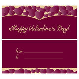 Ευτυχές σχέδιο ευχετήριων καρτών ημέρας βαλεντίνων ` s με τις καρδιές απεικόνιση αποθεμάτων